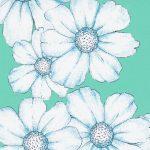 Aqua Floral Fabric: Blue & White - Print #2371