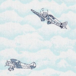 Airplane Print Fabric: Blue and White | Fabric With Airplanes