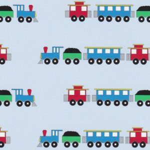Train Print Fabric: Blue, Red, and Green | Fabric With Trains