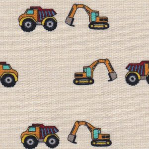Construction Theme Fabric: 100% Cotton   Construction Vehicle Fabric