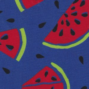 Watermelon Print Fabric: Red, Green and Blue | Fruit Fabric