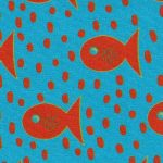 Orange Fish and Dots on Turquoise Fabric