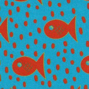 Orange Fish and Dots on Turquoise Fabric