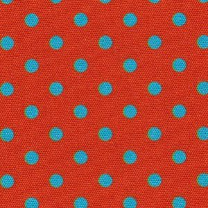 Turquoise Polka Dots: Orange Fabric   Wholesale Polka Dot Fabric