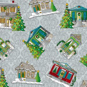 Creole Christmas Houses Fabric