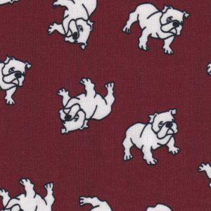 Maroon and White Bulldog Fabric