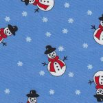 Snowman Fabric: Blue, Red and White | Holiday Fabric
