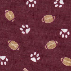 Maroon Paw Print Fabric: Football | Maroon and White Fabric
