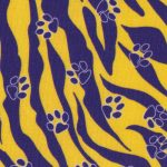 Purple and Gold Paw Print Fabric