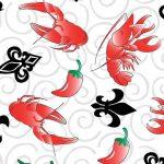 Crawfish, Chili Pepper, Fleur De Lis Fabric   Cajun Fabric