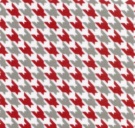 Red and Grey Houndstooth Fabric | Red and Grey Fabric - 100% Cotton