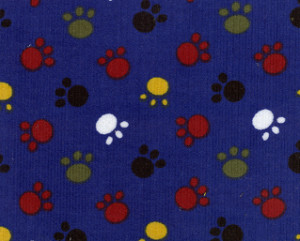 Printed Corduroy Fabric - CD41 Pawprints | Animal Print Fabric