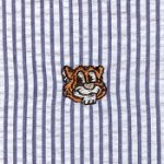 Embroidered Seersucker Fabric - Tiger on Navy | Tiger Print Fabric