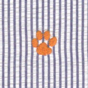Embroidered Seersucker Fabric - Orange Paw on Navy| Paw Print Fabric