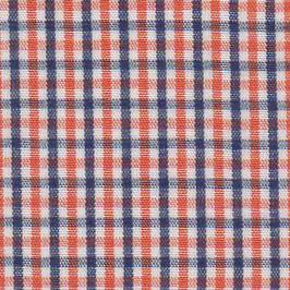 "Navy and Orange Check Fabric - 1/4"" | Navy and Orange Fabric"