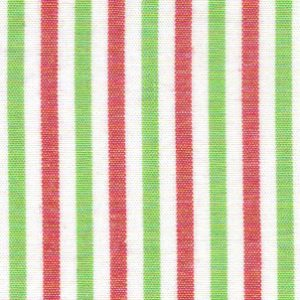 Red and Green Stripe Fabric - 100% Cotton | Striped Cotton Fabric