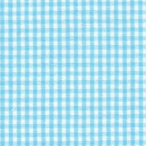 "Taffy Blue Gingham Fabric: 1/16"" Check 